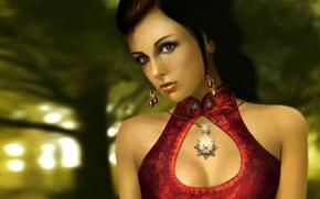Картинка девушка, свет, деревья, природа, лицо, фон, красное, узоры, волосы, серьги, платье, медальон, блестит