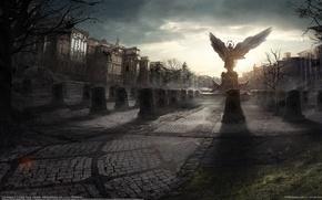 Картинка город, дома, крылья, ангел, площадь, памятник, плиты, статуя, надгробные, Frank Hong, City Angels 2