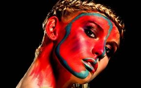 Картинка взгляд, девушка, лицо, краска