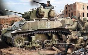 Картинка арт, Стюарт, СССР, Light tank, американский лёгкий танк, Stuart, Ленд-лиз Великобритания СССР