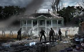 Обои дом, мусор, Left 4 Dead, зомби