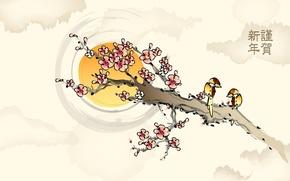 Обои солнце, цветы, птицы, рисунок, ветка, сакура, иероглифы