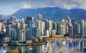 Обои пейзаж, горы, дома, Канада, Ванкувер, гавань, Британская Колумбия