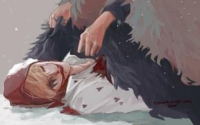 Картинка кровь, шляпа, перья, руки, арт, Аниме, парень, Anime, One Piece, Большой Куш, Corazon, Rocinante Donquixote