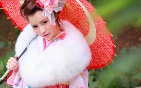 Картинка взгляд, лицо, зонтик, одежда, кимоно, азиатка