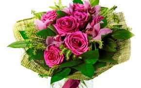 Обои цветы, орхидеи, розы, цветок, букет