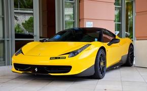 Картинка жёлтый, тюнинг, окна, дверь, зеркала, ferrari, феррари, вид спереди, фасад, yellow, италия, 458 italia, чёрная …