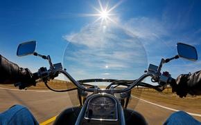 Картинка дорога, солнце, природа, движение, вид, скорость, лица, мотоцикл, байкер, байк, moto, bike, первого, biker, wallpaper., ...