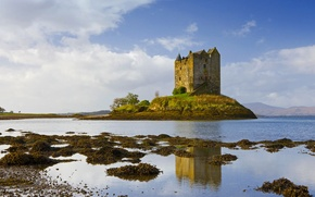 Картинка небо, облака, остров, башня, Шотландия, замок Сталкер, озеро Лох Линн