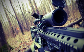 Картинка осень, лес, снайпер, прицел, винтовка, страйкбол, airsoft, m16spr
