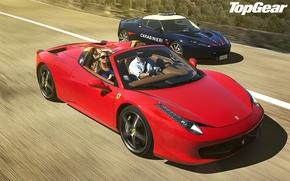 Картинка синий, красный, блондинка, Lotus, Ferrari, лотус, феррари, 458, italia, top gear, италия, спайдер, and, суперкары, …