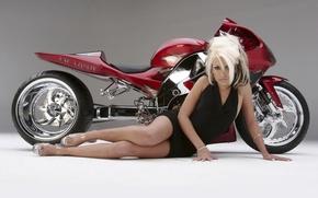 Обои девушка, блондинка, концепт, мотоцикл