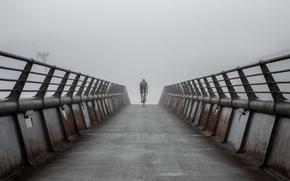 Картинка дорога, утро, велосипедист