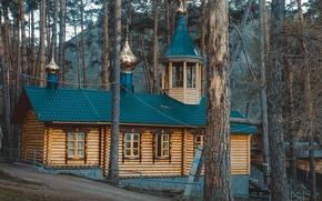 Картинка лес, дом, Церковь, вера, постройка