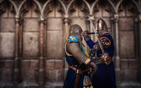Картинка soldiers, armor, fighting, swords, medieval