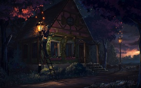 Картинка лестница, светлячки, Ночь, человек, улица, дом, фонари, крыльцо