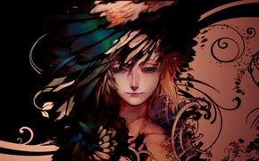 Картинка узоры, мальчик, перья, пацан, Обои аниме, грусть на рабочий стол