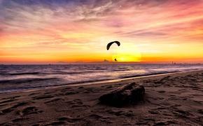 Обои море, небо, параплан, закат
