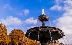 Картинка Water, Autumn, Castle, Stuttgart, Trees, Fountain, Schlossplatz