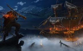 Картинка море, ночь, туман, огонь, корабль, череп, арт, пират, без головы, ружье, нежить, Andrej Horoschun