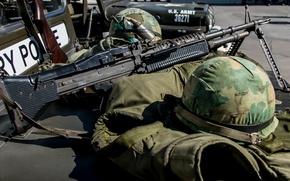 Обои каска, M60, пулемёт