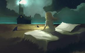 Картинка поле, маяк, кровать, сон, девочка, акулы