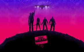 Обои Star-Lord, Guardians of the Galaxy, Gamora, Groot, фильм, art, Drax, Rocket, poster