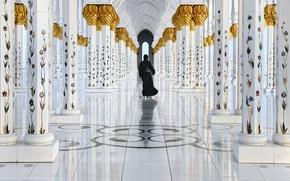 Картинка отражение, фигура, колонны, в чёрном, Golden walk