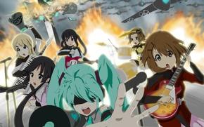 Обои девушки, огонь, гитара, взрывы, группа, аниме, Hatsune Miku, K-On, Vocaloid, вокалоид, самолёты, Love is War