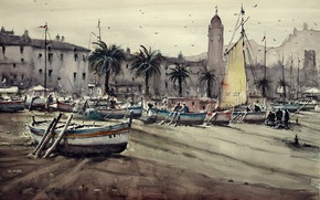 Картинка берег, башня, картина, лодки, акварель, городской пейзаж, Максимилиан Дамико