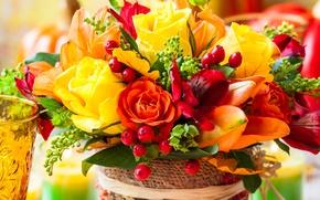 Обои букет, цветы, розы, ягоды, bouquet, flowers, roses