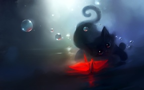 Обои apofiss, журавлик, ширики, оригами, рисунок, кошки, cats, кот