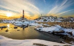 Картинка sunset, snow, lighthouse, pond