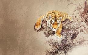 Картинка абстракция, Тигр, фэнтези