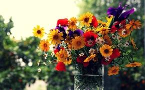 Обои окно, ваза, цветы, букет, bokeh
