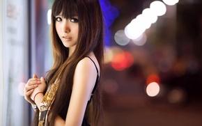 Картинка девушка, азиатка, город огни