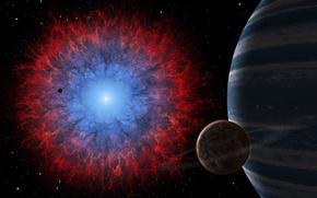 Картинка взрыв, туманность, вселенная, планета, вспышка