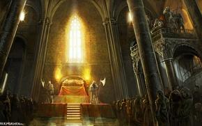Картинка замок, средневековье, Геральт, стража, The Witcher. Ведьмак