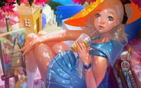 Картинка море, девушка, город, краски, рисунок, парусник, картина, шляпа, арт, напиток, кисть, матроска, rukiana