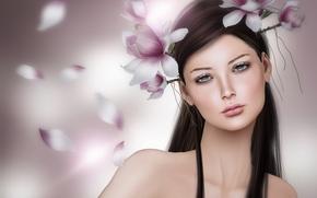 Обои портрет, цветы, венок, магнолия, брюнетка, девушка