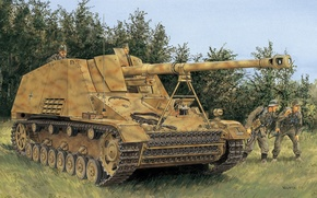 Картинка рисунок, установка, самоходная, артиллерийская, германская, (САУ), Nashorn, Вторая мировая войныа, 8.8 cm PaK 43/1 auf …