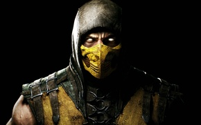 Картинка взгляд, маска, капюшон, боец, Скорпион, ниндзя, Warner Bros. Interactive Entertainment, NINJA, Scorpio, NetherRealm Studios, Mortal ...