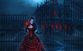Картинка девушка, ночь, замок, красное, луна, забор, платье, Moon, Night, Dress, роковая