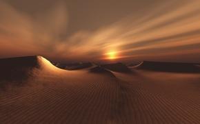 Картинка пейзаж, пустыня, рисунок, дюны
