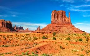 Обои США, USA, скалы, небо, солнце, голубое, Utah, Monument Valley, пустыня, каньон