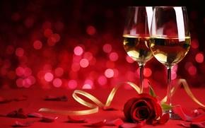 Картинка праздник, вино, роза, бокалы, bokeh