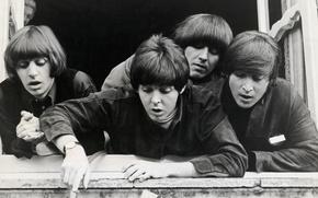 Обои The Beatles, обложка, группа, легенда, квартет, Битлз, фотография, монохром