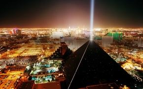 Картинка city, lights, USA, night, Las Vegas, roads, hotel, Nevada, skyscrapers, building, pyramid, metropolis, United States …