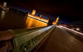 Картинка ночь, мост, река, Лондон