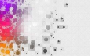 Картинка круги, абстракция, узоры, краски, colors, квадраты, circles, patterns, боке, 1920x1080, abstraction, squares